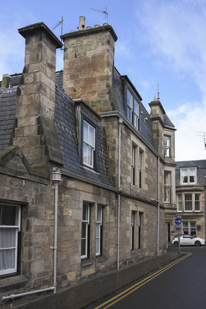 scottish culture: View of buildings along street, Murray Park, St Andrews, Fife, Scotland Stock Photo