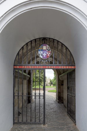 entranceway: Metal gate at St Marys College, St Andrews, Fife, Scotland