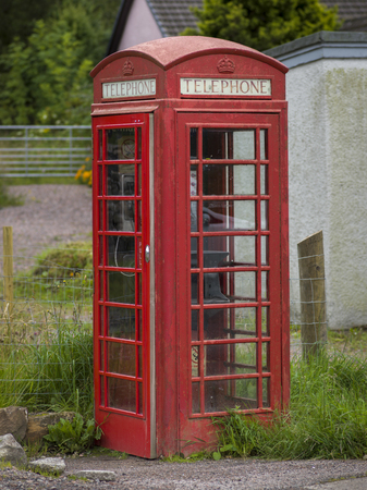 Red telephone booth, Scotland Stock Photo