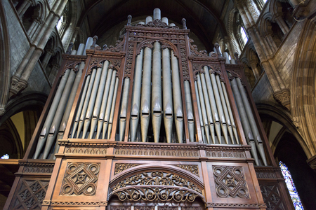 Pipe Organ in St. Marys Cathedral, Edinburgh, Scotland Editorial