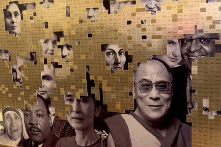 likeness: People montage on wall, Edinburgh, Scotland