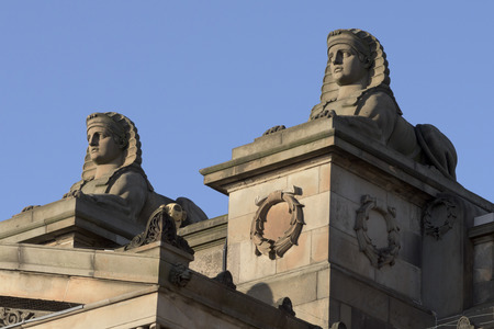 scottish culture: Sphinx Statues at the Scottish National Gallery, Edinburgh, Scotland Editorial
