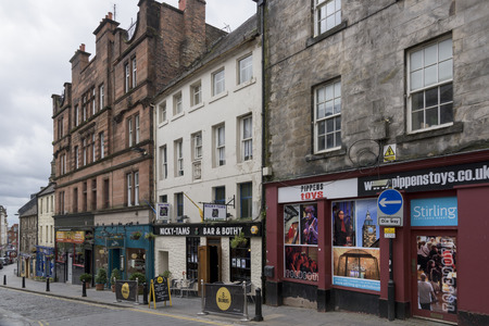 scottish culture: Restaurant and shops by street, Stirling, Scotland