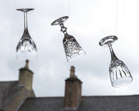 reversed: Hanging wine glasses, Stirling, Scotland