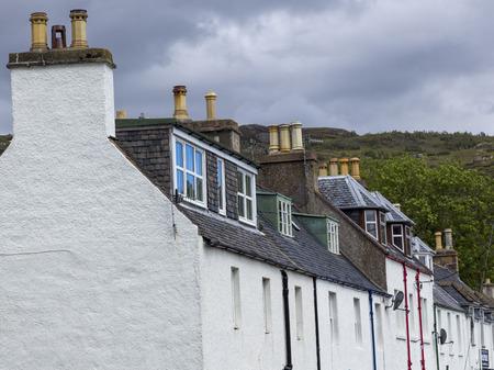 View of houses along street, Ullapool, Scottish Highlands, Scotland