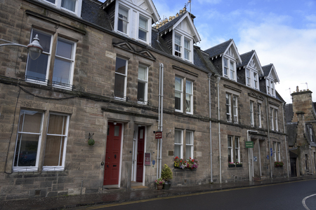entranceway: View of houses along street, Greyfriars Garden, St Andrews, Fife, Scotland Editorial