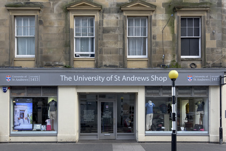 lampost: University of St Andrews shop at Market Street, St Andrews, Fife, Scotland Editorial