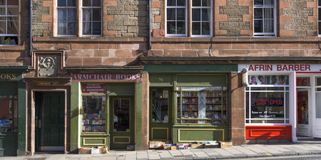 lawson: View of shops along street, Lady Lawson Street, Edinburgh, Scotland Editorial