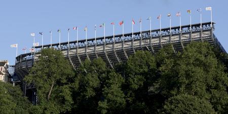 princes street: Exterior view of a stadium with flags, Edinburgh, Scotland