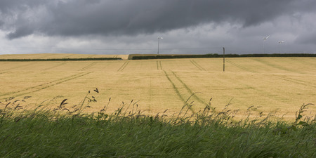 destination scenics: View of agricultural landscape against cloudy sky, Perth and Kinross, Scotland