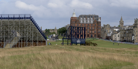 incidental people: View of the Old Course at St Andrews, St Andrews, Fife, Scotland