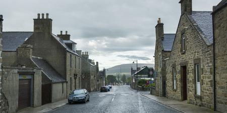 keith: View of buildings along street, Keith, Moray, Scotland Editorial