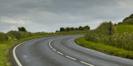 Empty road passing through landscape against cloudy sky, Latheronwheel, Caithness, Scottish Highlands, Scotland