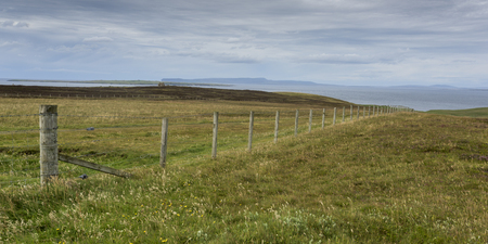 fencepost: Fence on landscape at coast, John o Groats, Caithness, Scottish Highlands, Scotland