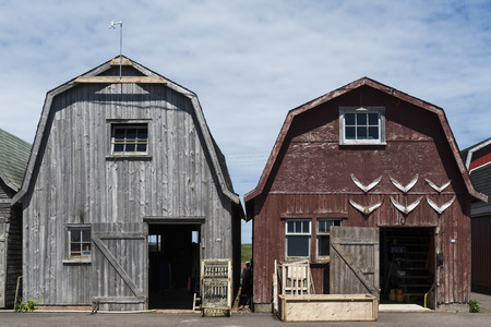 cielos abiertos: Fishing sheds at harbor, Lot 18, Prince County, Prince Edward Island, Canada