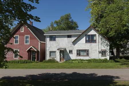 Facade of houses, Victoria, Prince Edward Island, Canada Editorial