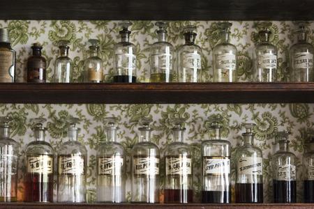 Medicine bottles on shelf, Sherbrooke, Nova Scotia, Canada