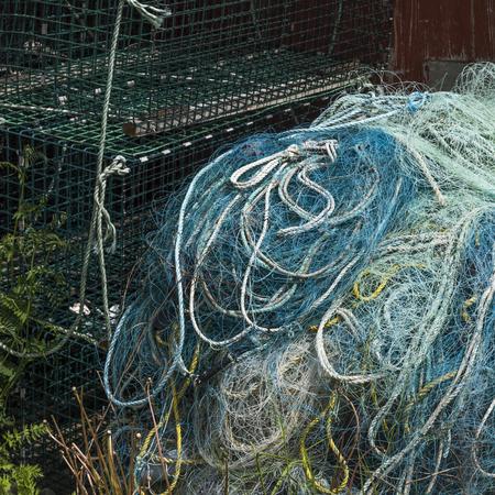 Fishing net in harbor, West Dover, Halifax, Nova Scotia, Canada Stock Photo