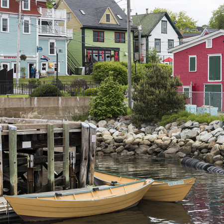 rowboats: Boats moored at dock, Lunenburg, Nova Scotia, Canada