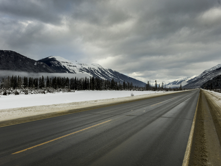 Road passing through snow covered landscape, Regional District of Fraser-Fort George, Highway 16, Yellowhead Highway, British Columbia, Canada