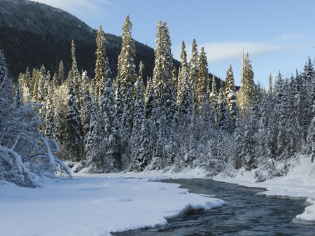 Scenic view of frozen lake, Regional District of Fraser-Fort George, Highway 16, Yellowhead Highway, British Columbia, Canada Stock Photo
