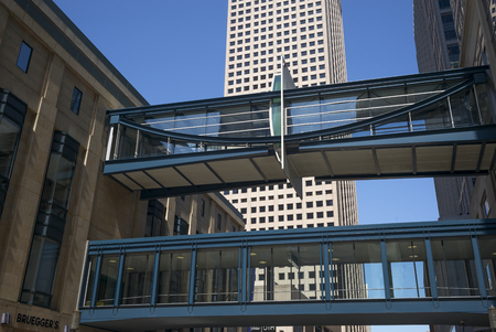 Skywalk by office buildings in Downtown Minneapolis, Hennepin County, Minnesota, USA Stock Photo