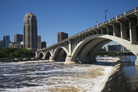 Third Avenue Bridge on the Mississippi River, Minneapolis, Hennepin County, Minnesota, USA