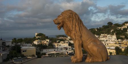 Lion statue in town, Casamicciola Terme, Ischia Island, Campania, Italy