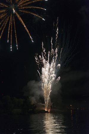 public celebratory event: Canada Day firework display, Kenora, Lake of The Woods, Ontario, Canada