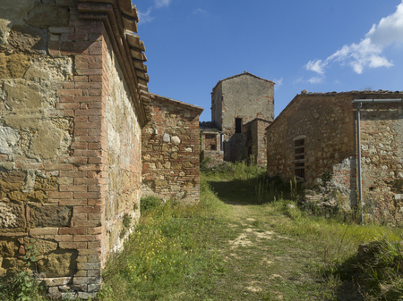 Abandoned houses in town, Chianti, Tuscany, Italy Stock Photo