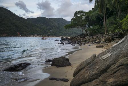 Scenic view of rocky beach, Yelapa, Jalisco, Mexico Stock Photo
