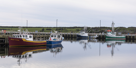 mode: Fishing trawlers moored at harbor, Petit Etang, Cape Breton Island, Nova Scotia, Canada Editorial
