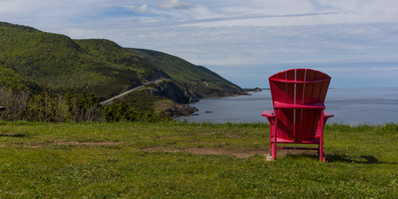 Scenic view of an adirondack chair at coast, Petit Etang, Cape Breton Highlands National Park, Cape Breton Island, Nova Scotia, Canada
