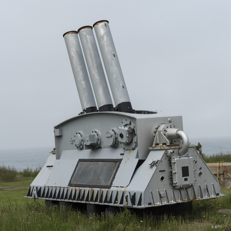 Cannon at Fort Petrie, New Victoria, Cape Breton Island, Nova Scotia, Canada Stok Fotoğraf - 87877617