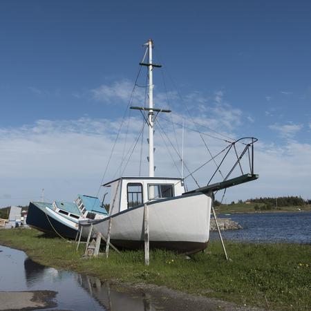 Fischerboote am Hafen von Main-a-Dieu, Kap-Breton-Insel, Neuschottland, Kanada