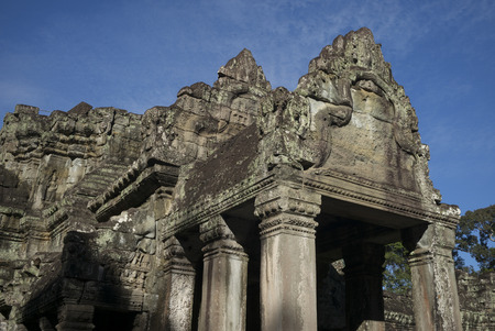 the collapsing: Low angle view of temple, Krong Siem Reap, Siem Reap, Cambodia Stock Photo