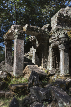 the collapsing: Ruins of Ta Prohm Temple, Angkor Archaeological Park, Krong Siem Reap, Siem Reap, Cambodia Stock Photo
