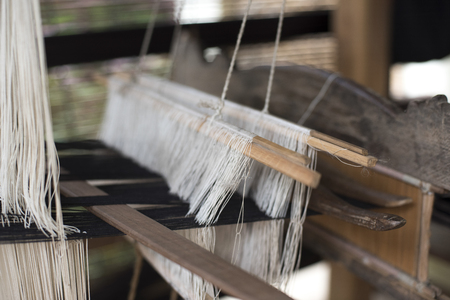 Close-up of threads on a loom, Luang Prabang, Laos