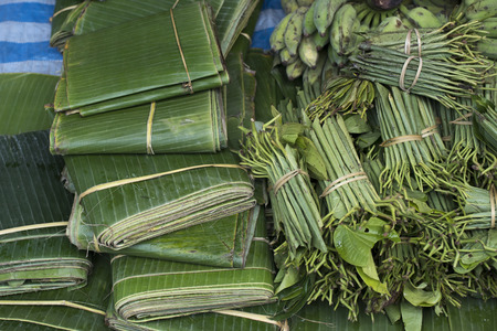 Elevated view of banana and betel leaves for sale, Luang Prabang, Laos