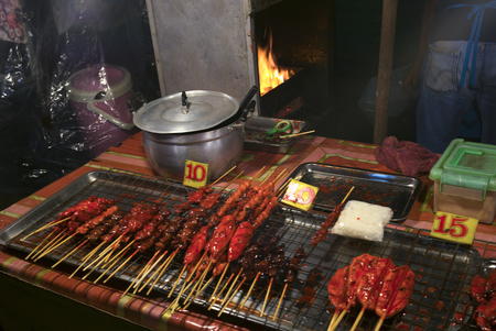 Cooked meat on barbecue grill in restaurant, Koh Samui, Surat Thani Province, Thailand Stock Photo