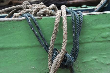 roped: Close-up of ropes on boat, Koh Samui, Surat Thani Province, Thailand Stock Photo