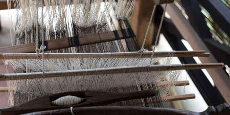 Close-up of threads on a loom, Luang Prabang, Laos Standard-Bild - 91398677