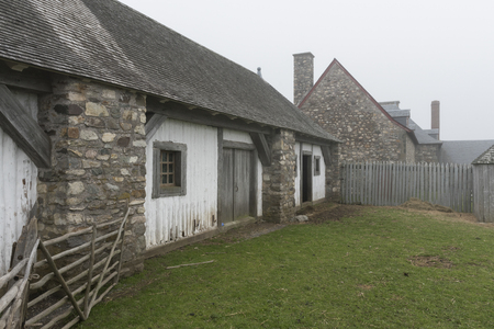 Houses in village, Fortress of Louisbourg, Louisbourg, Cape Breton Island, Nova Scotia, Canada