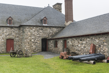 Cannons at Fortress of Louisbourg, Louisbourg, Cape Breton Island, Nova Scotia, Canada Stok Fotoğraf
