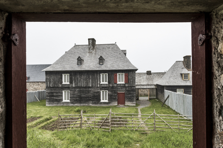 Facade of house at Fortress of Louisbourg, Louisbourg, Cape Breton Island, Nova Scotia, Canada