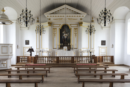 Inside view of church at the Fortress of Louisbourg, Louisbourg, Cape Breton Island, Nova Scotia, Canada Reklamní fotografie