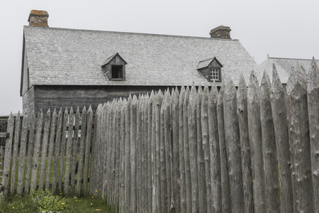 Wooden fence at Fortress of Louisbourg, Louisbourg, Cape Breton Island, Nova Scotia, Canada