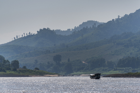Tourboat in the River Mekong, Laos Stock Photo