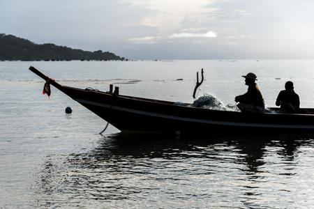 Two fishermen in boat, Koh Samui, Surat Thani Province, Thailand