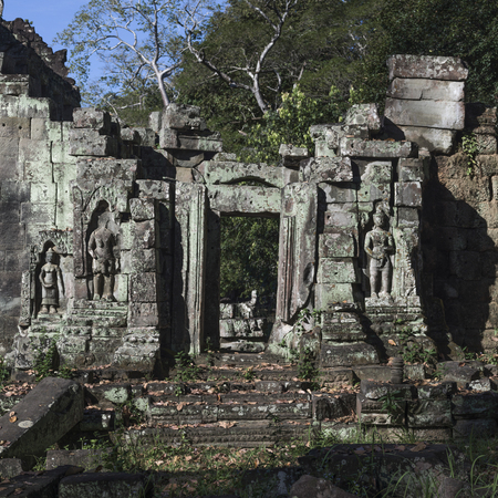Ruins of temple, Krong Siem Reap, Siem Reap, Cambodia Stock Photo